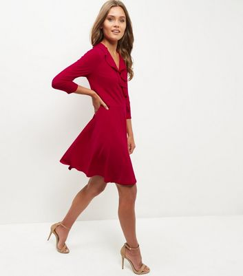red-ruffle-trim-wrap-front-dress