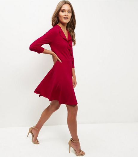 Red Ruffle Trim Wrap Front Dress  | New Look
