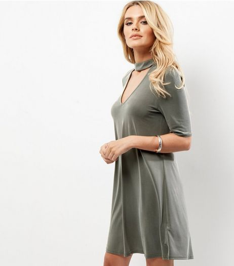 Khaki Choker Neck Tunic Dress | New Look