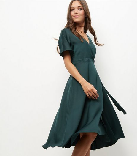 Dark Green Sateen Wrap Midi Dress | New Look