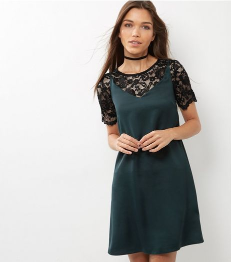 Dark Green 2 in 1 Lace Top Slip Dress | New Look