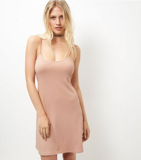 Shell Pink Ribbed Swing Dress  | New Look