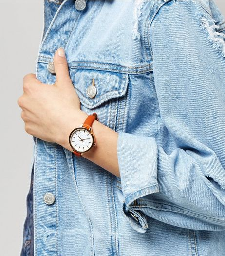Orange Oversized Skinny Strap Watch | New Look
