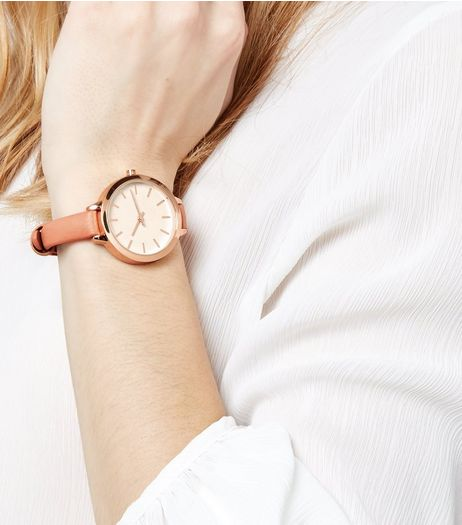 Coral Skinny Strap Watch | New Look