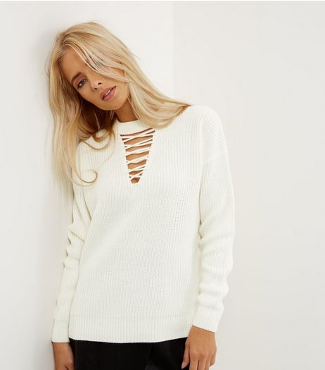 Cream Ribbed Lattice Front Jumper | New Look