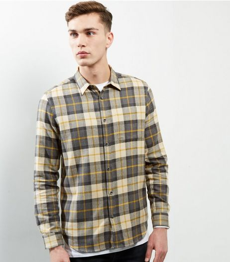 Tan Check Long Sleeve Shirt  | New Look