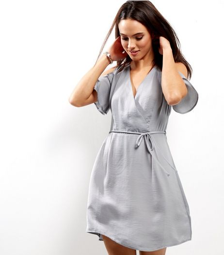 Silver Sateen Cold Shoulder Wrap Front Dress | New Look