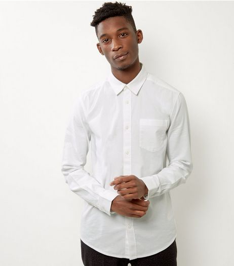 White Brushed Cotton Long Sleeve Shirt | New Look