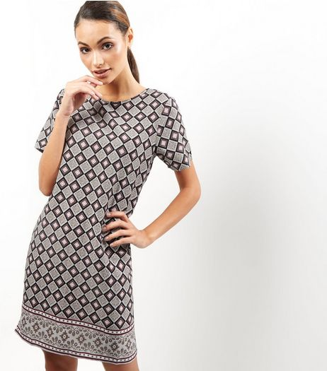 Grey Tile Print Tunic Dress | New Look