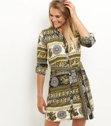 AX Paris Khaki Paisley Print Shirt Dress | New Look