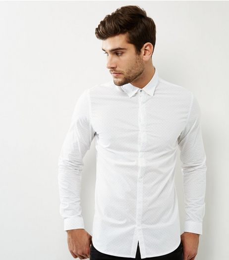 White Geomtric Long Sleeve Shirt | New Look