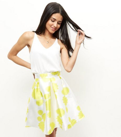 AX Paris Yellow Floral Print 2 in 1 Dress | New Look