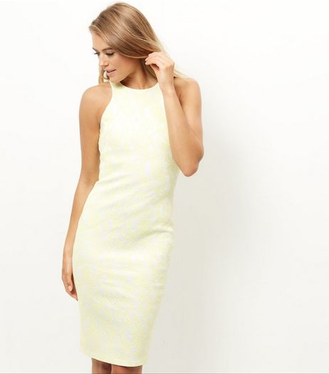 AX Paris Yellow Lace Midi Dress | New Look