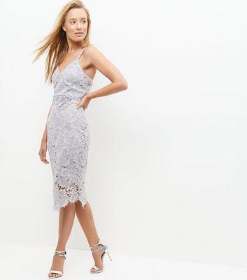 AX Paris Grey Crochet Lace Midi Dress