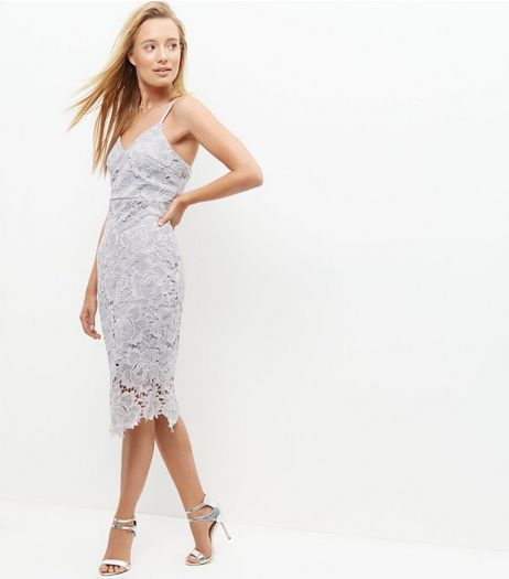 AX Paris Grey Crochet Lace Midi Dress | New Look