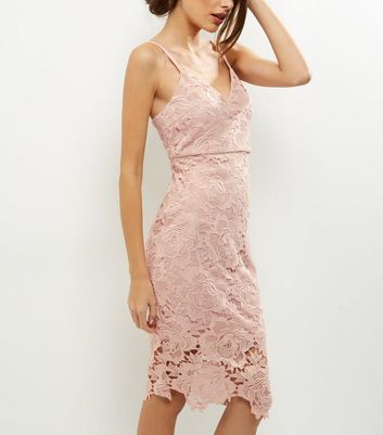 AX Paris Pink Crochet Lace Midi Dress