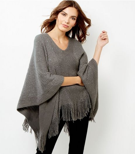 Blue Vanilla Grey Sequin Tassel Hem Poncho  | New Look