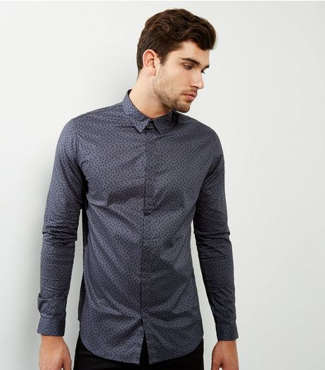 Grey Spot Print Long Sleeve Shirt | New Look