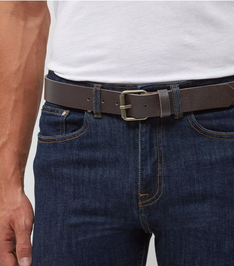 Brown Leather Roller Buckle Belt  | New Look