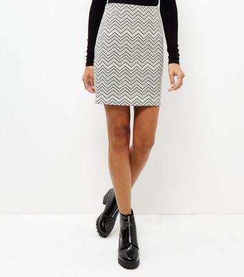 White Zig Zag Print Jacquard Textured Tube Skirt