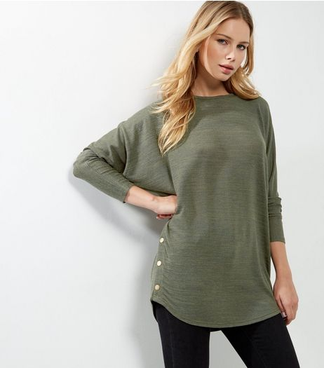 Khaki Batwing Sleeve Stud Side Top  | New Look