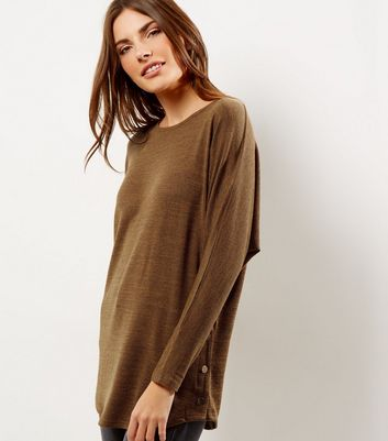 Mustard Yellow Batwing Sleeve Stud Side Top