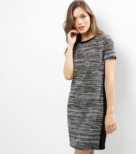 Grey Space Dye Fine Knit Short Sleeve Mini Dress  | New Look