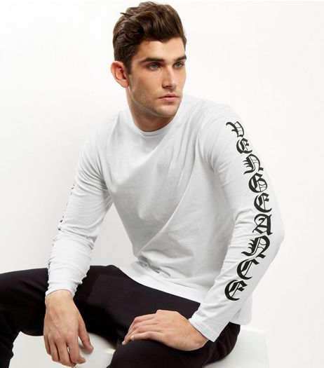 White Vengence Print Long Sleeve T-Shirt | New Look