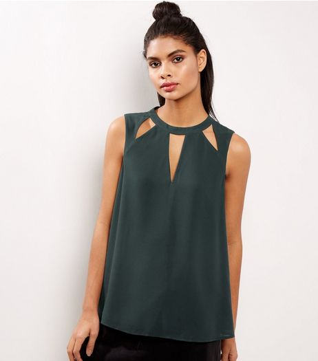 Dark Green Cut Out Sleeveless Top  | New Look