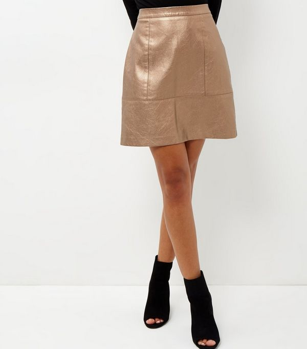 Bronze Leather-Look Metallic Mini Skirt