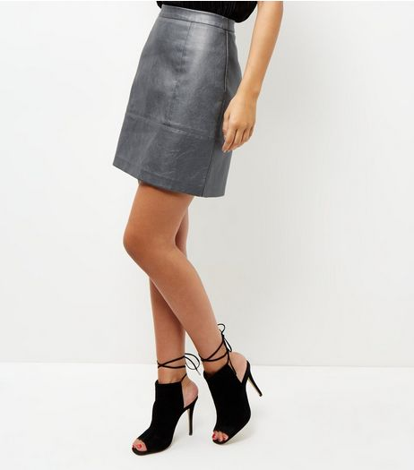 Silver Leather-Look Metallic Mini Skirt | New Look