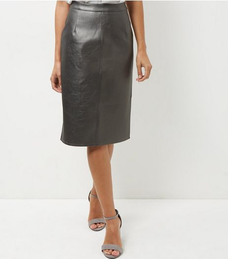 Silver Metallic Leather-Look Pencil Skirt  | New Look