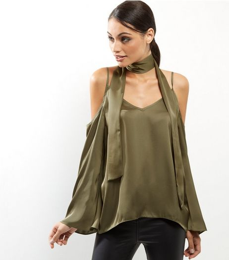 Khaki Sateen Cold Shoulder Tie Neck Shirt | New Look