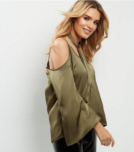 Dark Green Sateen Tie Neck Cold Shoulder Top  | New Look