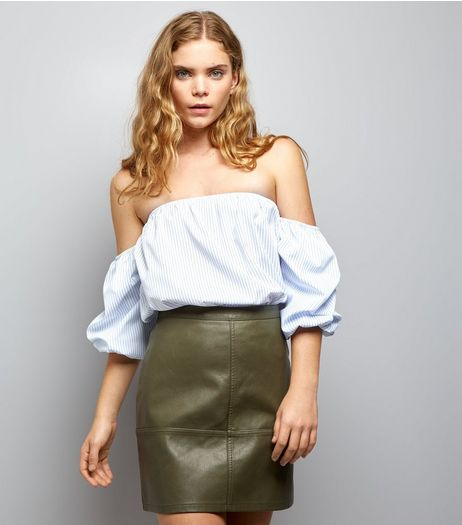 Khaki Leather-Look Mini Skirt  | New Look
