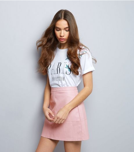 Pink Leather-Look Mini Skirt | New Look