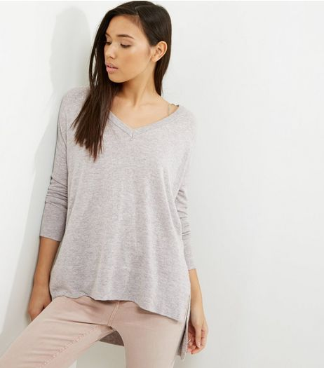 Grey V Neck Step Hem Longline Top  | New Look