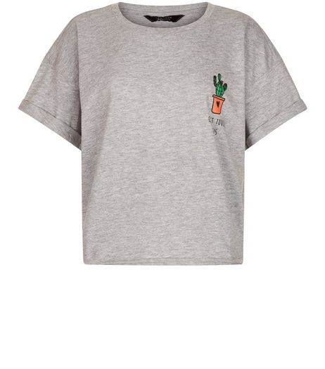 Teens Grey Cactus Roll Sleeve T-Shirt | New Look