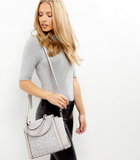 Grey Boucle Texture Panel Mini Tote Bag | New Look