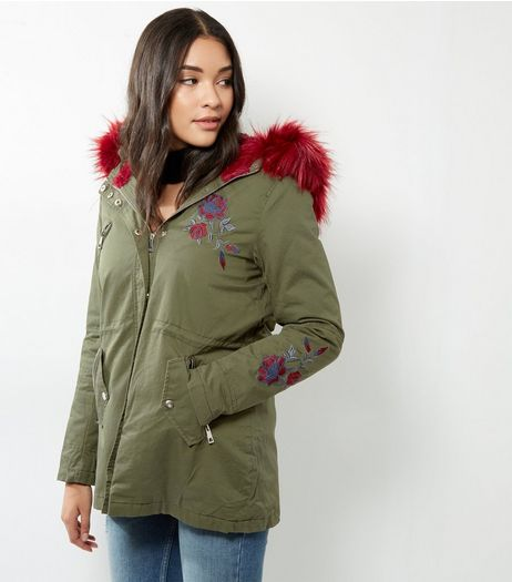 Khaki Floral Embroidered Fuax Fur Collar Parka | New Look