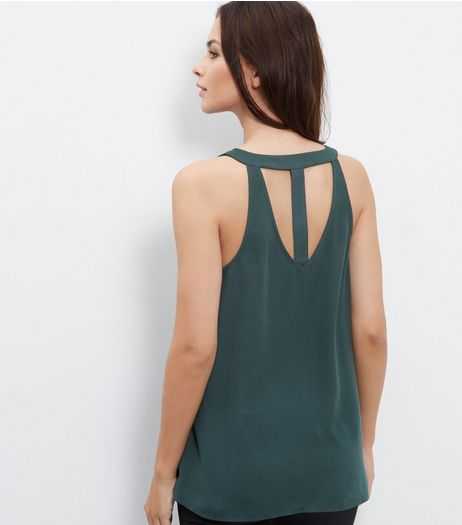 Dark Green Cross Back Shell Top | New Look