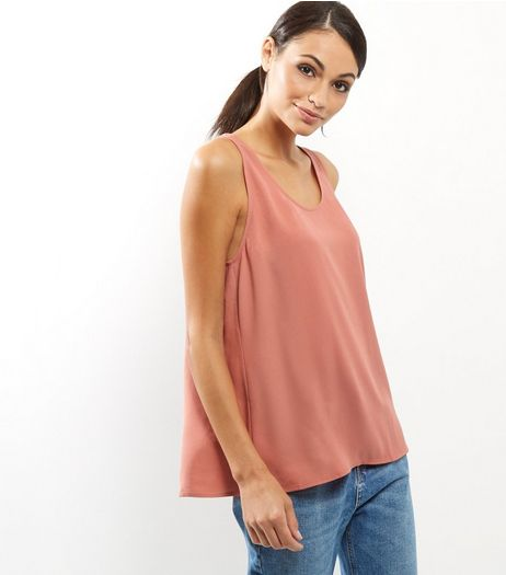 Peach Cross Back Vest | New Look