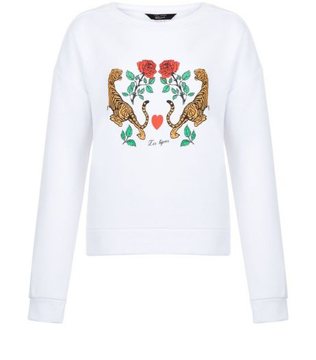 Teens White Tiger Rose Sweater | New Look