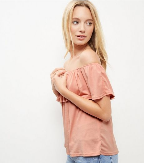 Shell Pink Textured Ruffle Trim Bardot Neck Top  | New Look