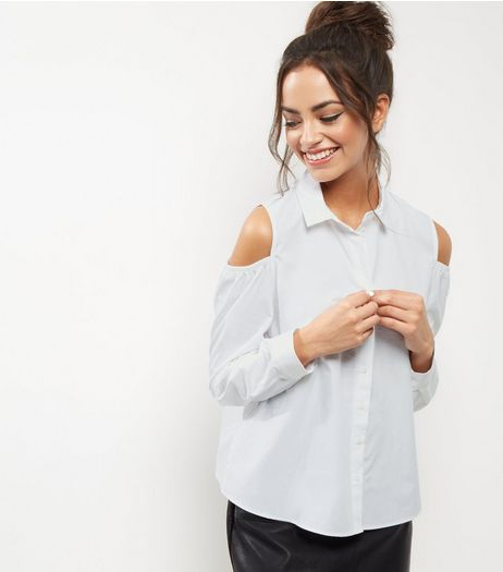 White Cold Shoulder Shirt | New Look