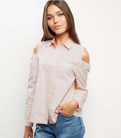 Pink Cotton Cold Shoulder Shirt | New Look