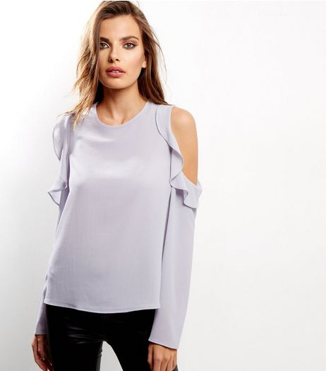 Pale Grey Frill Trim Cold Shoulder Top  | New Look