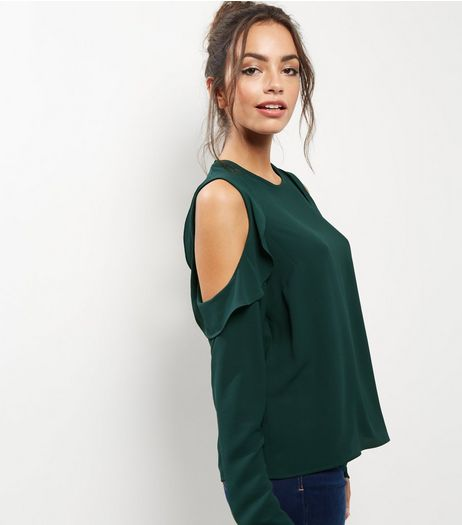 Dark Green Frill Trim Cold Shoulder Top  | New Look