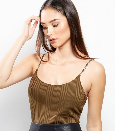 Khaki Ribbed Chain Strap Cami Top  | New Look