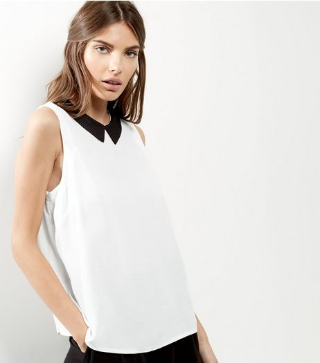 White Contrast Collar Sleeveless Top  | New Look